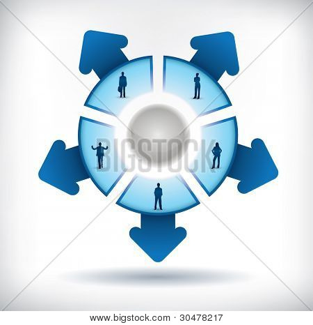 Segmented Presentation template with five parts, people silhouettes and arrows poster
