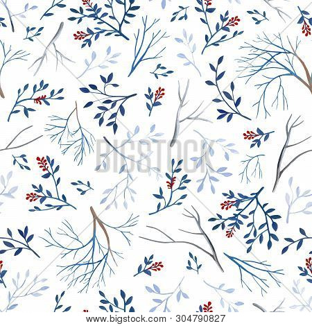 Gouahe Seamless Pattern With Red Berry, Branches And Leaves For Art Work And Wedding Design