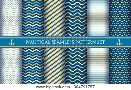 Boys Nautical Seamless Vector Patterns. Baby Boy Sail Pattern Set, Nautic Marin Swim Or Sailing Boat