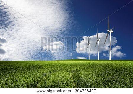 Windmills power plant in rural landscape
