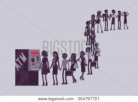 Group Of People Queuing In A Line Near Atm. Members Of Different Nations, Sex, Age, Jobs Standing To