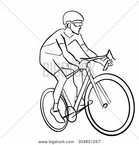 Single male bicyclist on bicycle. Abstract isolated contour. Hand drawn outlines. Black line drawing. Cycling race illustration. Vector silhouette. poster