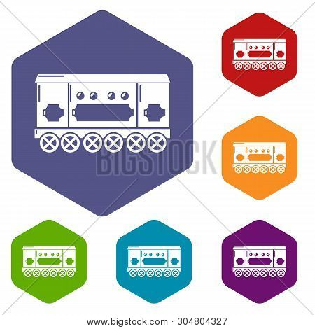 Compartment Carriage Icons Vector Colorful Hexahedron Set Collection Isolated On White