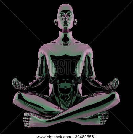 Man Lotus Pose Stylized Figure Black Polished Glossy Contrast. Human Mental Guru Character. Peaceful