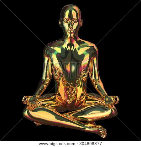 Lotus Pose Golden Man Stylized Figure Sparkling Glossy. Human Mental Guru Character Polished Gold St