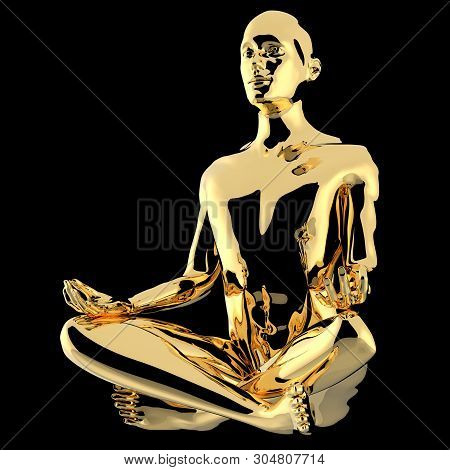 Yoga Lotus Pose Man Stylized Figure Gold Polished. Peaceful Nirvana Meditate Soul Balance Symbol. Hu