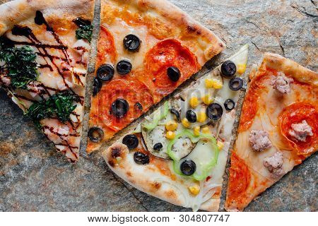 Four Different Pizza Set For Menu. Pizza With Salami, Pizza With Mozzarella, Salami, Sausages, Pizza