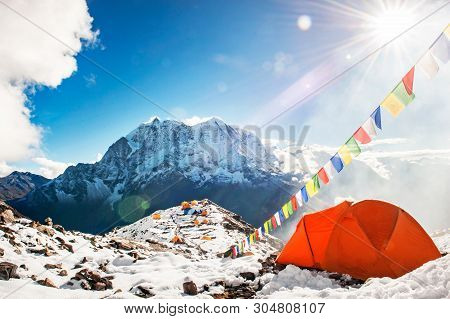 Tent In The Everest Base Camp. Mountain Peak Everest. Highest Mountain In The World. National Park,