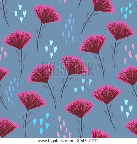 Pale Blue Floral Seamless Pattern With Cute Childish Pink Flowers, Colour Hearts And Shapes. Colorfu