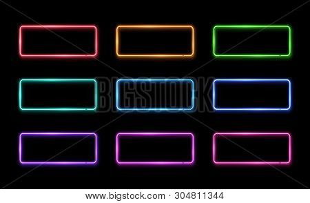 Colorful Neon Frame Set. Square Shape Signs Collection. Design Element Template. Led Or Halogen Lamp