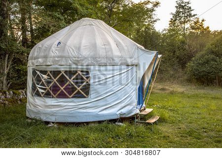 Traditional Mongolian Yurt. This type of shelter is often used as holiday accommodation in Europe poster
