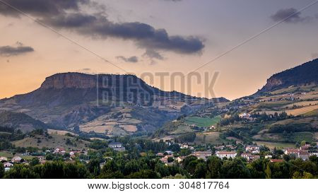 Cevennes Valley Landscape Near Le Rozier With Mountains And Hills Under Colorful Sky