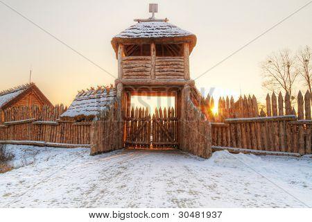 Ancient Faktoria village in Pruszcz Gdanski, Poland
