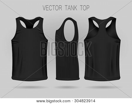Mens Black Tank Top Template In Three Dimensions: Front, Side And Back View. Blank Of Realistic Male
