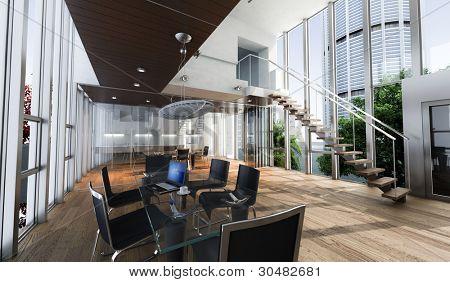 Renderização realista de um escritório de luxo moderno, com vista deslumbrante