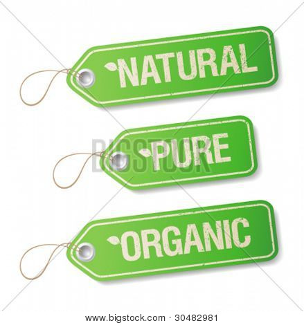 Natural, Pure, Organic labels collection.