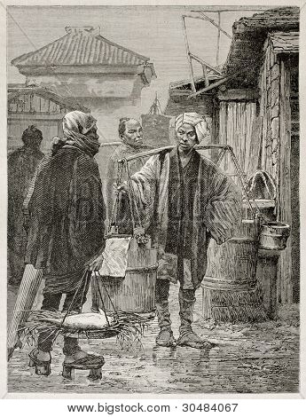 Fish market in Yedo (Tokyo), old illustration. Created by Neuville after photo by unknown author, published on Le Tour Du Monde, Ed. Hachette, Paris, 1867