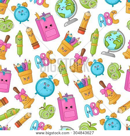 Seamless Pattern With Kawaii School Supplies, Back To School Concept, Cute Cartoon Characters - Text