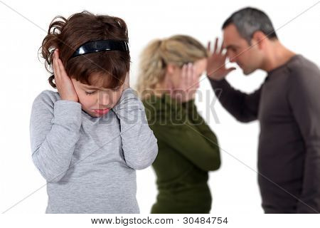 Daughter stood with arguing parents