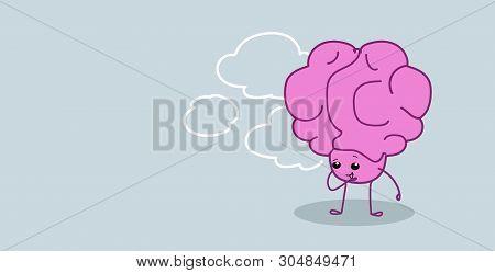 Frustrated Human Brain Organ Holding Hand On Chin Thinking Pondering New Idea Kawaii Style Pink Cart
