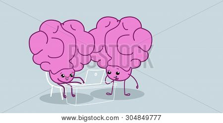 Human Brains Couple Sitting At Workplace Using Laptop Brainstorming Successfull Teamwork Concept Pin