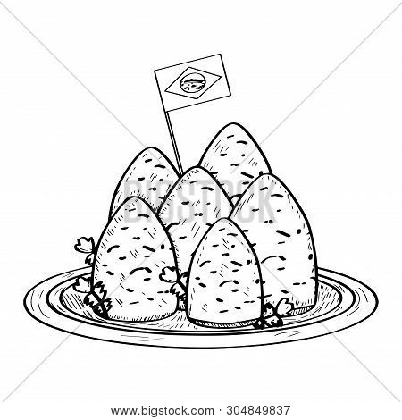 Isolated Coxinhas With A Flag Of Brazil. Traditional Brazilian Food - Outline Vector