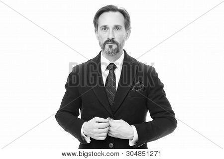Bespoke Suit Flatters Every Wearer. Suit Imbue Sense Of Confidence Of Gentlemen. Man Handsome Confid