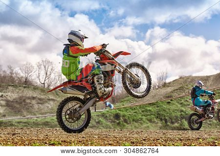 Extreme Motorcycle Race. Biker Rides Off-road On A Motorcycle For Extreme Racing