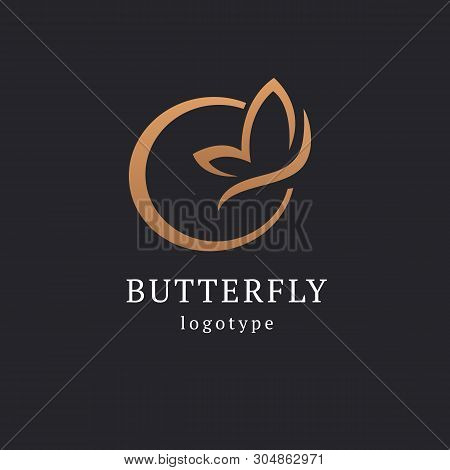 Abstract Butterfly Illustration. Manicure, Styling, Haircut, Makeup, Stylist, Fashion Logo Design. M