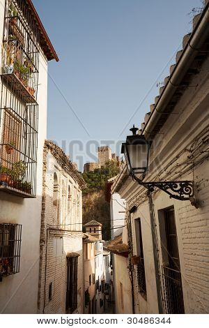 Granada Street View Towards Alhambra Palace