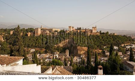 Alhambra Palace With Granada In The Foreground