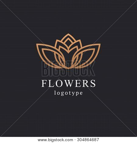 Abstract Flower Store Logo Icon Vector Design. Cosmetics, Spa, Beauty Salon Decoration Boutique Vect