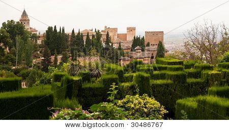 Gardens Of The Generalife Inside The Alhambra Palace Of Granada