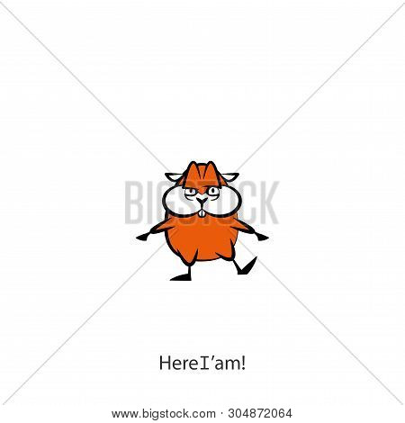 Cartoon Character Of A Pet - A Rodent. Funny Cool Hamster Is In A Pose And Contorts Muzzle. Vector.