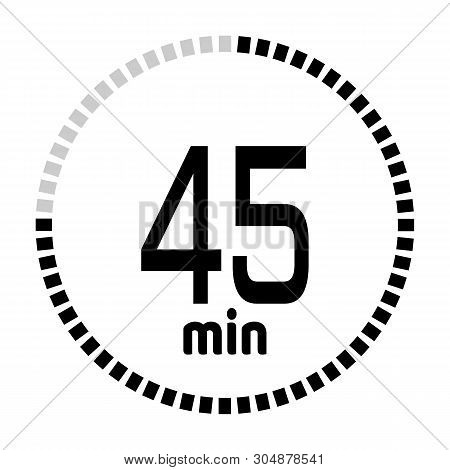 The 45 Minutes Countdown Timer Or Digital Counter Timer Clock Vector Icon. Stopwatch Vector Icon, Di