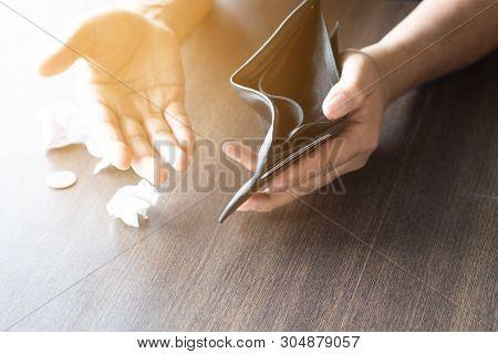 Empty Wallet In The Hands Of Man. Broke ,bankrupt Concept.