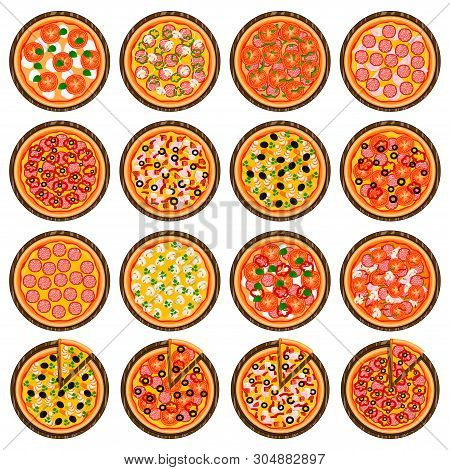 Big Colorful Set For Whole Round Hot Pizza, Slice Triangle To Pizzeria Menu. Pizza On Wood Board, In