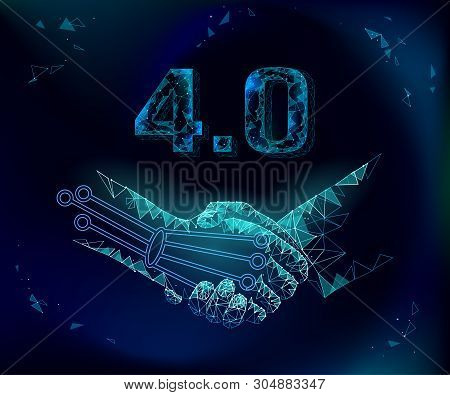 Low Poly Handshake Future Industrial Revolution Concept. Industry 4.0 Ai Artificial And Human Union.