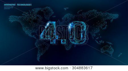 Low Poly Global Future Industrial Revolution Concept. Global World Map Human Union. Online Technolog