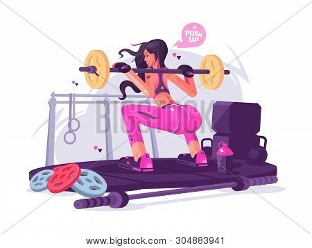 Fitness Girl Squats With Barbell In Gym