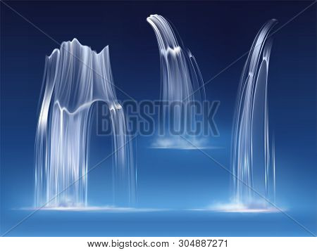 Waterfall Cascade, Realistic Water Fall Streams Set Of Pure Liquid With Fog Of Different Shapes Isol
