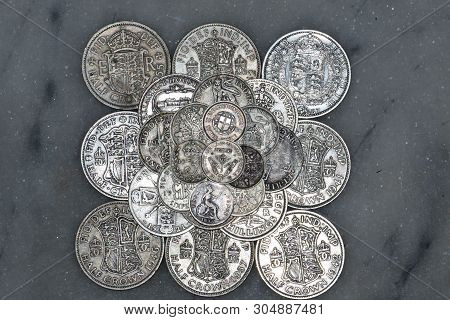 british coinage, obverse faces, pre-decimalisation, soiled, circulated,  old, historic, money, cash   Pikist