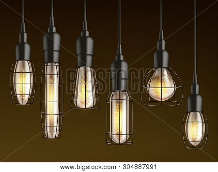 Different Shape And Size Hanging, Vintage Incandescent Light Bulbs With Heated Wire Filament And Lat