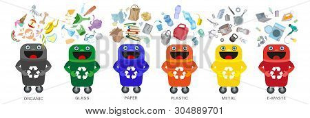 Waste Sorting Vector Management Concept Separation Garbage Disposal Refuse Bin Illustration