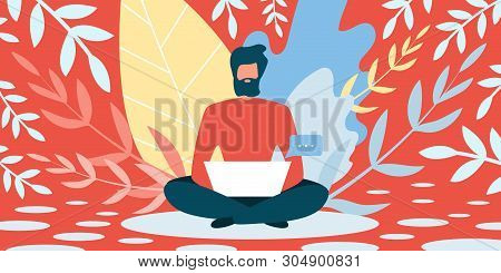 Freelancer Job In Summer Vector Illustration. Bearded Man Sitting On Floor With Laptop On Background