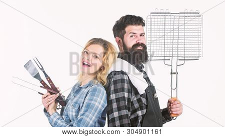 Ideal For Your Homemade Barbecue. Bearded Man And Cute Girl Holding Cooking Grate. Happy Couple Havi
