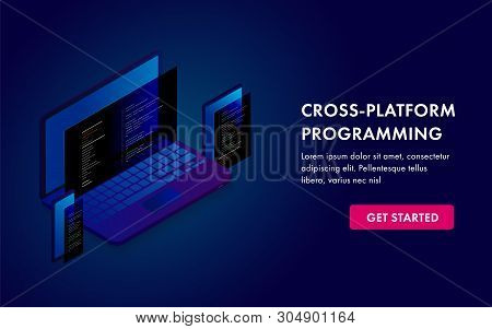 Cross Platform Programming And Software Development Website Template, Landing Page Or Banner Isometr