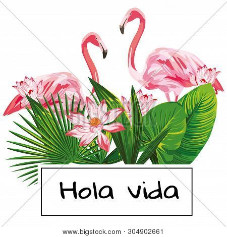 Tropical Realistic Vector Composition With Hola Vida Slogan And Pink Flamingo, Flowers, Green Leaves