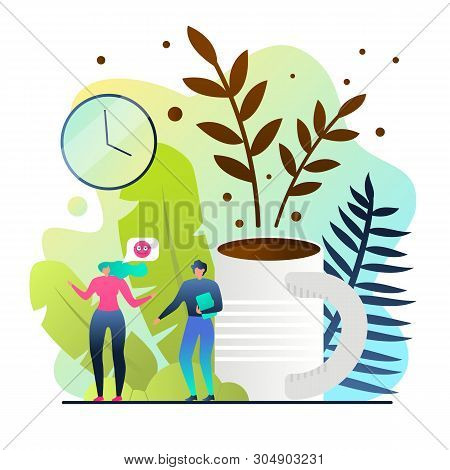 Flat Poster Preparation for Long-awaited Vacation. Man and Woman Choose Tourist Destination with Luxury Hotels and All-inclusive System People Background Large Cup Coffee Vector Illustration. poster