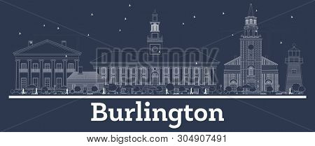 Outline Burlington Vermont City Skyline with White Buildings. Business Travel and Concept with Modern Architecture. Burlington Cityscape with Landmarks.